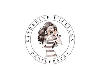 Premade Portrait Photography Logo and Watermark,  Girl with Camera Logo Design, Fashion Photography Logo, Chic & Glam Logo 382