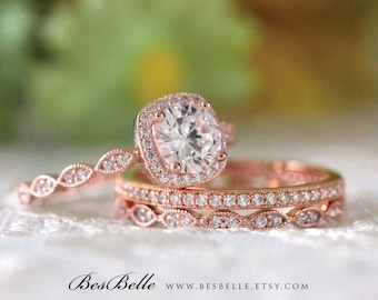 2.17 ct.tw Milgrain Bridal Set-Art Deco Halo Engagement Ring W/ Mixed Eternity Wedding Ring-Rose Gold Plated-Sterling Silver [65355RG-3MX]