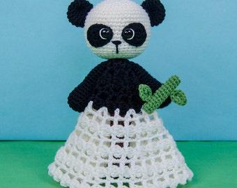 Zhen the Panda Lovey / Security Blanket - PDF Crochet Pattern - Instant Download - Blankie Baby Blanket
