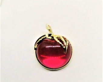 Jelly Belly Apple/Cherry Brooch - Vintage, Sarah Coventry Signed, Gold Tone, Red Plastic Center Pin
