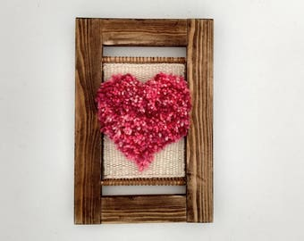 Woven Wall Hanging - Tapestry Weaving - Mothers Day Gift - Gift for Mum - Wallhanging - Framed Textile Art - Pink Heart - I Love You Mum