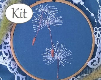 """Hand Embroidery kit - Embroidery pattern """"make a wish"""" - beginner needlepoints kit - embroidery hoop art - Dandelion- modern stitching kit"""