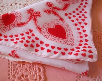 Valentine Hankie Hearts Bows Red Doily Handkerchief Bonus Greeting Card