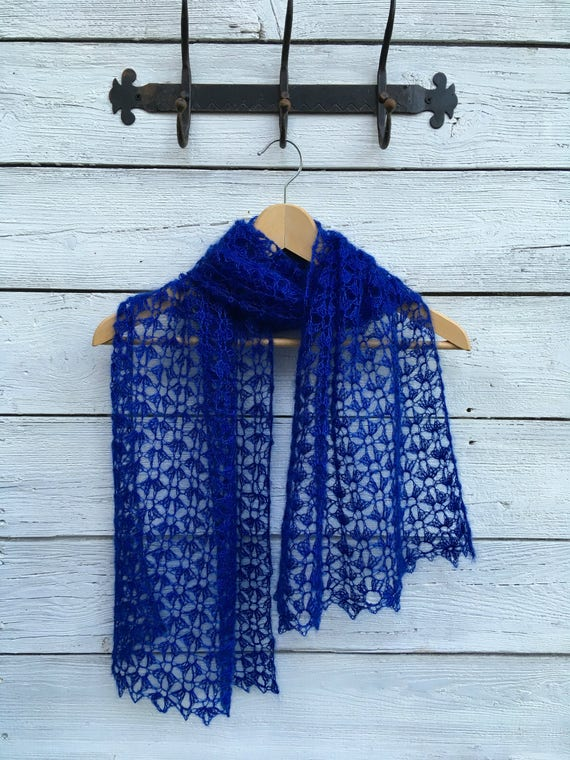 Crochet Shawl Scarf Pattern Pdf Mohair Lace Airy Wool Wrap