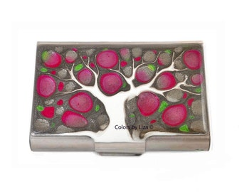 Large Business Card Case Hand Painted Enamel Fuchsia and Green Tree of Life Metal Wallet Custom Colors and Personalized Options