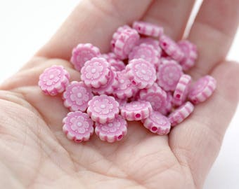 Raspberry Pink Acrylic Flower Beads Washed Matte Finish 10mm (30)
