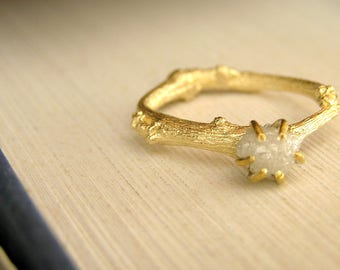 Raw Diamond Engagement Ring, Rough Diamond Ring in 14k solid Gold Twig Ring, Unique Nature Inspired Engagement Ring. Uncut Diamond Ring
