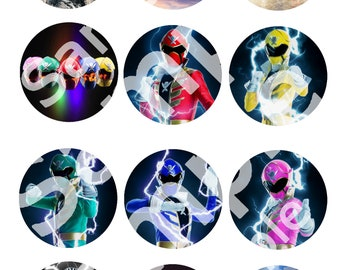 Instant Download Power Rangers Super Mega Force Cupcake Toppers