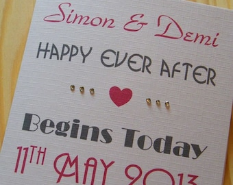 Wedding Day Handmade Personalised Card - Happy Ever After