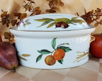Royal Worcester Covered Oval Casserole Evesham Gold, 10 Inches, Oven To  Table