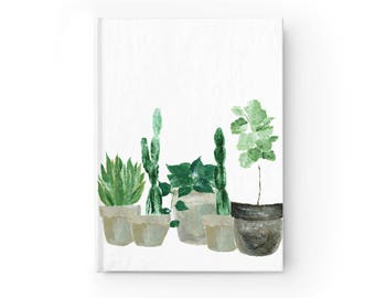 Plant Journal, cactus journal, plant notebook, cactus notebook, leaf journal, leaf notebook, plant lover gift, white journal, cactus gift