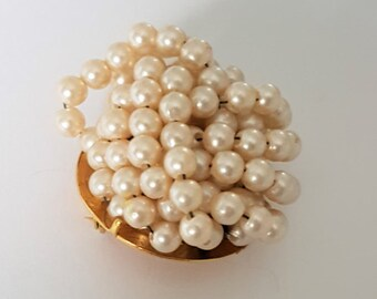 Vintage brooch, scarf pin or shawl pin, bunch of pearls broach, gold tone pin,  vintage 1960s