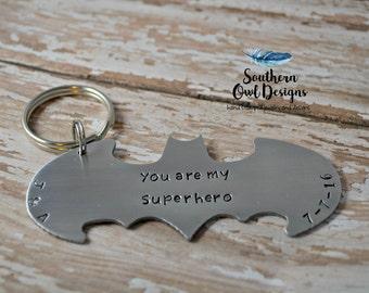 Batman keychain, custom batman keychain, personalized batman keychain, father's day gift, gift for him, valentine's gift