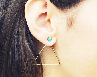 Ear Jacket // Turquoise Stud Earring with Triangle Ear Nut // Lapis Earring // Turquoise Post Earrings with Triangle Ear Back