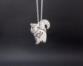 Sterling Squirrel Necklace by marmar - Silver Squirrel Pendant