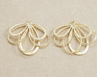 Multiple Drop Brass Pendant, Jewelry Supplies, Matte Gold Plated over Brass - 2 Pieces-[AP0044]-MG