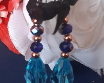 Shiny blue earings