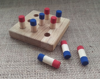 Wooden noughts and crosses type game, a handmade vintage style tic tac toe game
