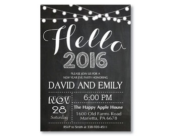 New Years Invitation. New Years Eve Invitation. Chalkboard. Black and White. Light Strings. Printable Digital.