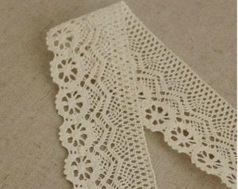2 Yards Cotton Fabric Cloth -DIY Cloth Art Manual Cloth -Cotton Lace Embroidery 4.5CM Wide