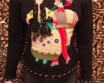 Vintage 1950s/1960s Mexican Novelty Handmade Sweater felt Appliqué Mexican FolkArt Man /Woman Design
