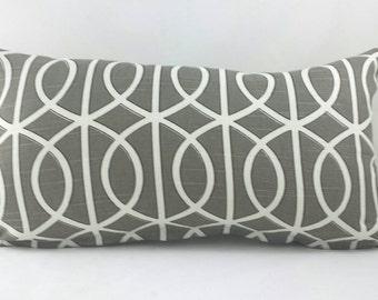 Robert Allen Gray and white geometric lattice cushion cover.