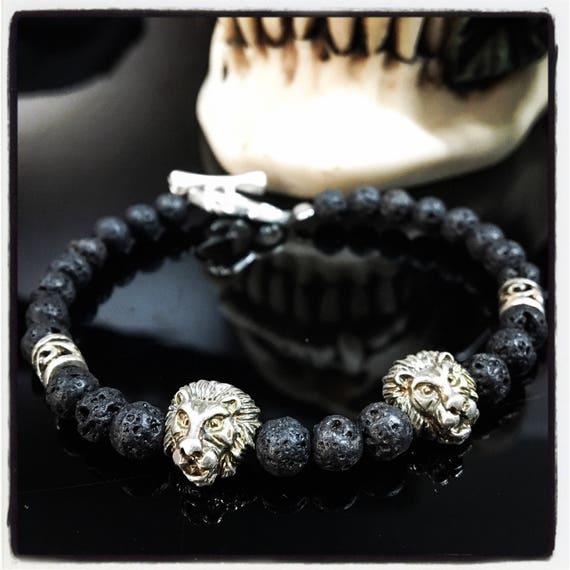Etherial Jewelry - Rock Chic Talisman Luxury Custom Handmade Artisan Pure Sterling Silver .925 Double Lion with Black Lava Stones Bracelet