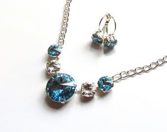 Swarovski Crystal Necklace Earring SET, Aquamarine Necklace, Clear Crystal Necklace, Summer Jewelry, Swarovski Jewelry, Crystal Earrings