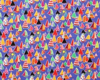 OOP HTF 28 inches alexander henry the marina Nautical Multi Color Sailboat Boats Red White Blue Fabric