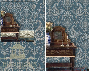 Dollhouse Miniature Wallpaper, Mary Elizabeth, Scale One Inch