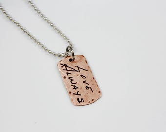 Men's Dog Tag Handwriting Necklace, Dogtag Signature Necklace, Rustic Handwriting Gift for guys, husband, father, grandpa gift, kids actual