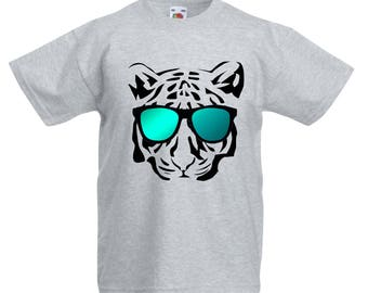 Kids Cool Tiger T-Shirt / Childrens Tiger with Sunglasses T-Shirt in Light Blue, White and Grey Age: 3-4, 5-6, 7-8, 9-11, 12-13