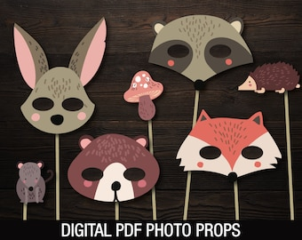 Woodland Animals Photo Prop Masks // Woodland Baby Shower // Fox Raccoon Rabbit Bear // Printable PDF files