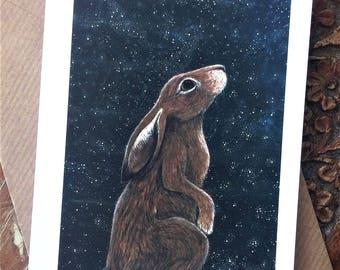 Stargazing Hare Blank Art Greeting Card - Illustration/Lunar Hare/Stars/Night/Animal Art/Small Art/Handmade Card/Hare Art/Hare Cards