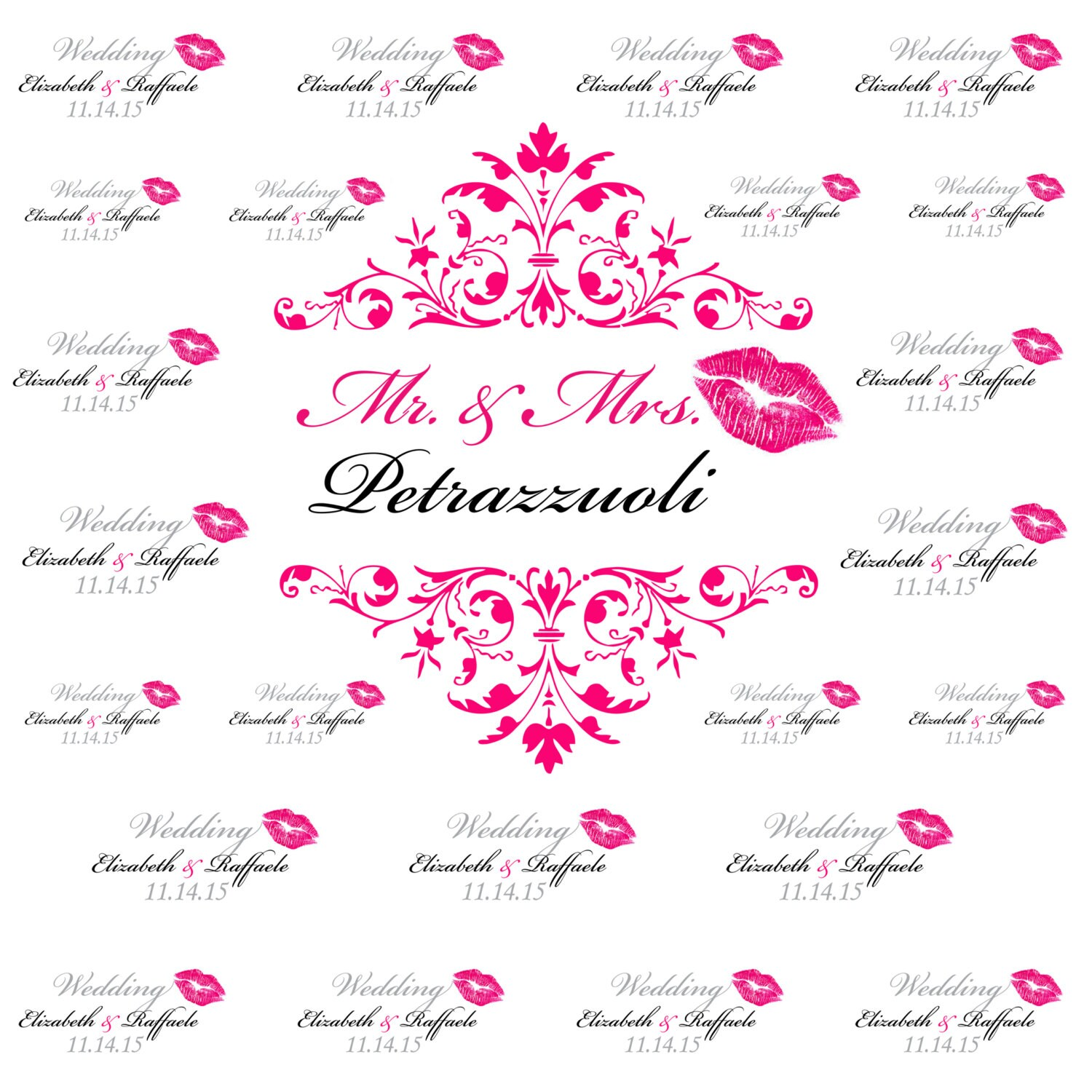 Pink Lips Wedding Step And Repeat Banner Wedding Backdrop