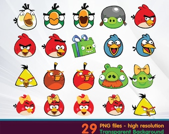 Angry bird clipart -  Digital 300 DPI PNG Images, Photos, Scrapbook, Cliparts - Instant Download