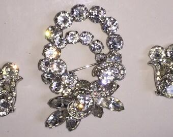 Eisenberg Brooch & Earrings Set, Signed Designer Brilliant Crystal Stones in Near Mint Condition