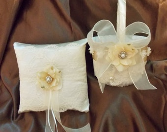 champagne and ivory lace flower girl basket and pillow custom made