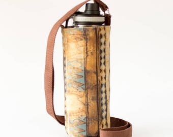 Brown and Blue Large Water Bottle Holder, Fabric Water Bottle Sling, Crossbody, Brown, Blue, and Gray Fabrics, Handmade