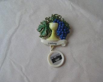 Limburg Grapes Brooch Germany Wine Glass Dangle Pin Plastic Vintage