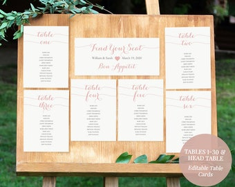 Blush Pink Seating Chart Kit - Printable Table Assignment Cards - Tables 1-30- Pink Wedding - DIY Editable PDF Template - 5x7inches -#GD1601