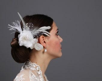 Brautschmuck Headpiece Fascinator Haarschmuck Vintage Braut Hochzeit Accessoires Federn elfenbein Perlen Polka Dots Pünktchen Kopfschmuck