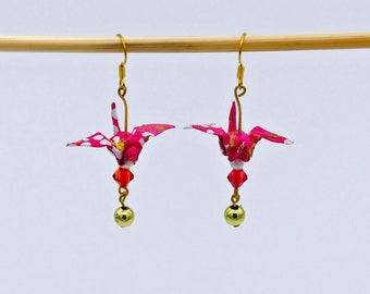 These origami crane earrings pink and gold