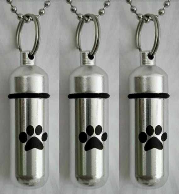 THREE Laser Engraved Large Simple Paw CREMATION URN Necklaces with Velvet Pouches, Ball-Chains and Fill Kit