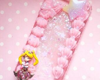 For iPhone 7 plus / 8 plus - Sailor case phone moon unicorn helios blue glitter fall coque decoden usagi bunny moon power magical girl