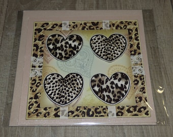 CARD EMBOSSED WITH HEARTS