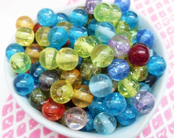 50x 10mm Carnival Resin Juicy Glitter Globe Beads in Multicolours Transparent