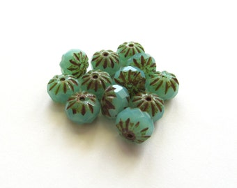 Sea Green Opal Czech Glass Rondelle Cruller Beads with Picasso Finish, 9mm - 12 pieces