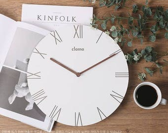 minimal clock/modern clock/wooden minimal decor clock/wood Scandinavian clock/wall art color white wood/Round Clock/Living Room Decor clock