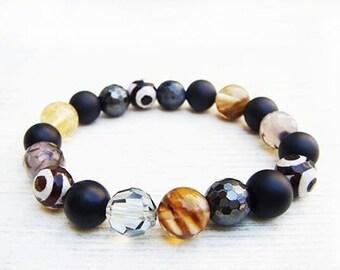 Stylish gemstone bracelet,Swarovski crystal bracelet,Agate bracelet,Balance protection bracelet, Onyx Bracelet,Hematite eye,Quartz Bracelet